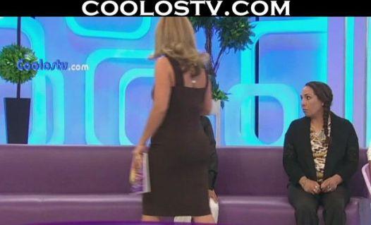 Rocio Sanchez Azuara Culote Marcado En Vestido Cafe Liso HD