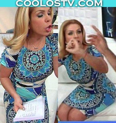 Rocio Sanchez Azuara Tremedo Culote en Vestidito Azul Estampado
