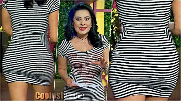 Anayanssi Moreno Culote y Transparencia de Panty Minivestido Spandex Rayas [166]