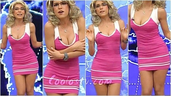 Tania Rincon En Sexy Microvestido Rosa Dando El Clima 125 -3264