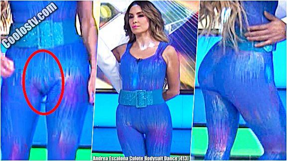 Andrea Escalona Culote y Cameltoe Marcado en Bodysuit de Latex [413]