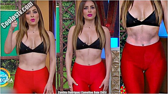 Cynthia Rodriguez Cameltoe Leggings Rojos VTL [565]