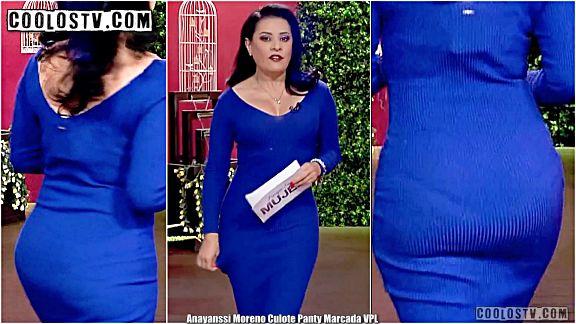 Anayanssi Moreno Culote Panty Marcada Vestido Azul VPL