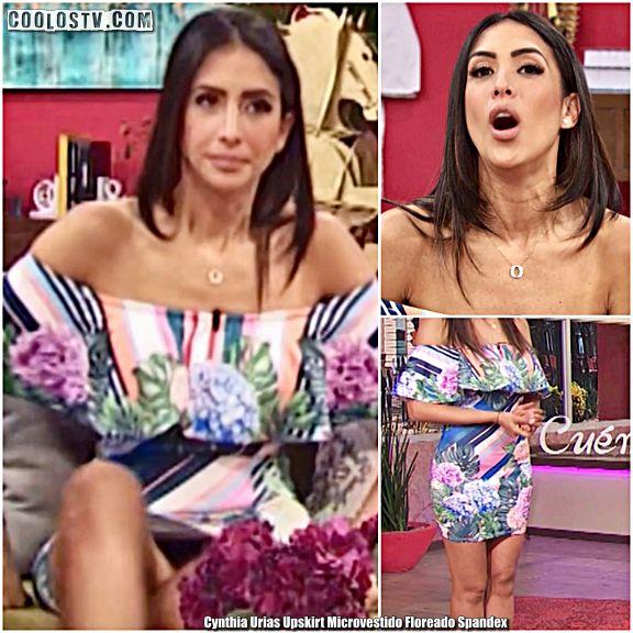 Cynthia Urias Upskirt Tanga Negra Microvestido Floreado Spandex