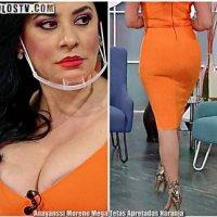 Anayanssi Moreno Mega Tetas Apretadas Vestido Naranja