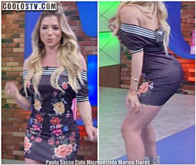Paola Sasso Culo en Microvestido Marino Flores [Video]